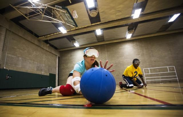 Children take part in goal ball at Camp Abilities in Brockport, New York, in a file photo.  REUTERS/Mark Blinch