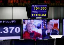 Экран с котировками доллара США к иене и индекса Nikkei (вверху) рядом с монитором, на котором в выпуске новостей показывают кандидатов в президенты США, в Токио 8 ноября 2016 года.  Доллар упал более чем на 3 процента к иене и ослаб к остальным основным валютам в среду в ходе крайне волатильных торгов на глобальных рынках на фоне напряженной борьбы на президентских выборах в США. REUTERS/Toru Hanai