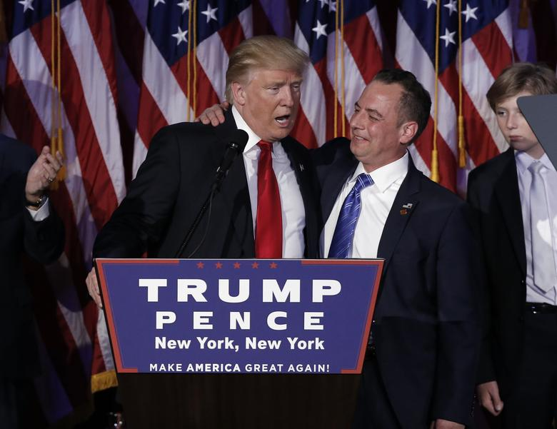 Donald Trump and Reince Priebus address supporters during his election night rally. REUTERS/Mike Segar