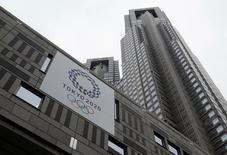 Tokyo 2020 Olympic games emblem is displayed at Tokyo Metropolitan Government Building in Tokyo, Japan, June 15, 2016. REUTERS/Toru Hanai