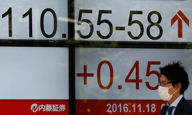 11月18日、午後3時のドル/円は、前日ニューヨーク市場午後5時時点と比べてドル高/円安の110.65/67円だった。イエレンFRB議長の議会証言が12月利上げを示唆したと受け止められてドル買いが強まった海外時間の流れを引き継いだ。写真は為替ボード。都内で撮影(2016年 ロイター/Toru Hanai)