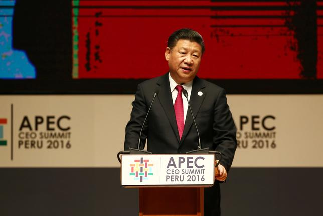 China's President Xi Jinping addresses audience during a meeting of the APEC (Asia-Pacific Economic Cooperation) Ceo Summit in Lima, Peru, November 19, 2016. REUTERS/Mariana Bazo