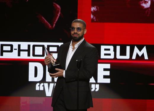 Drake accepts the award for best rap/hip-hop album for