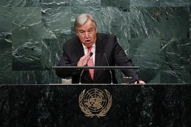11月28日、北京を訪問しているグテレス次期国連事務総長は、世界では多くの権利が尊重されていないとし、国連は人権、民権、経済権が確実に「効率的な連携」を発揮するよう努める必要があると述べた。写真はグテレス氏。ニューヨークで10月撮影(2016年 ロイター/Lucas Jackson)