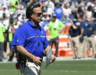 Sep 18, 2016; Los Angeles, CA, USA; Los Angeles Rams head coach Jeff Fisher during the first half of a NFL game against the Seattle Seahawks at Los Angeles Memorial Coliseum. Mandatory Credit: Richard Mackson-USA TODAY Sports