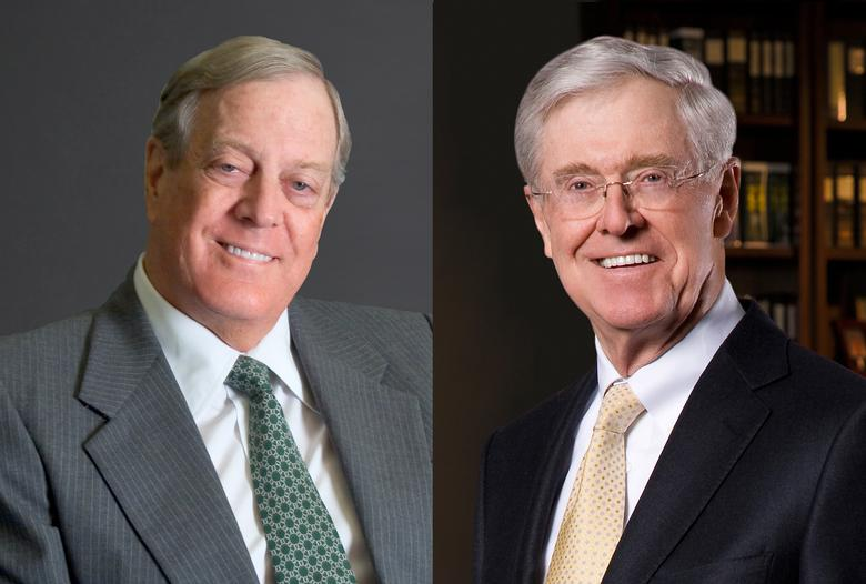 David and Charles Koch in a combination image.   REUTERS/Handout