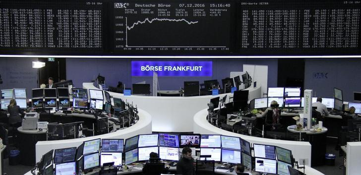 Traders work at their desks in front of the German share price index, DAX board, at the stock exchange in Frankfurt, Germany, December 7, 2016.      REUTERS/Staff/Remote