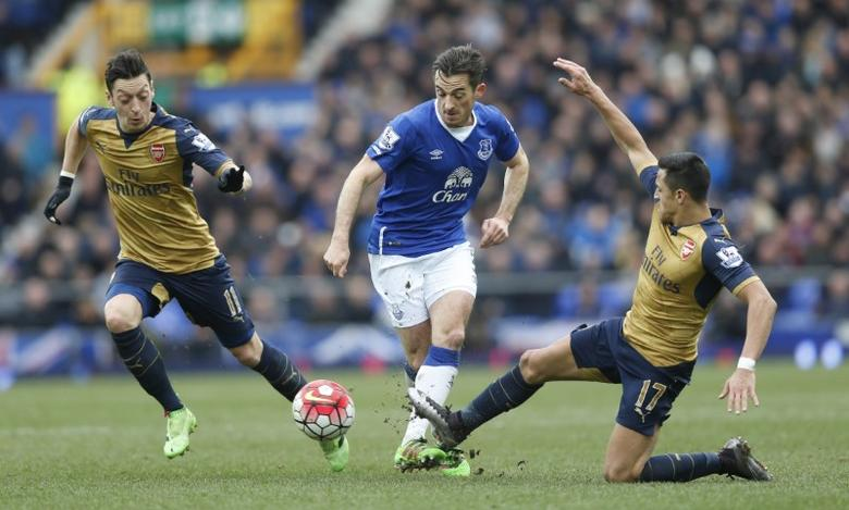 Football Soccer - Everton v Arsenal - Barclays Premier League - Goodison Park - 19/3/16Arsenal's Alexis Sanchez and Mesut Ozil in action with Everton's Leighton BainesAction Images via Reuters / Carl Recine