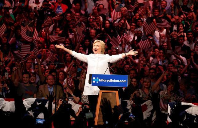 Hillary Clinton arrives to speak during her California primary night rally held in the Brooklyn borough of New York, June 7, 2016. REUTERS/Lucas Jackson