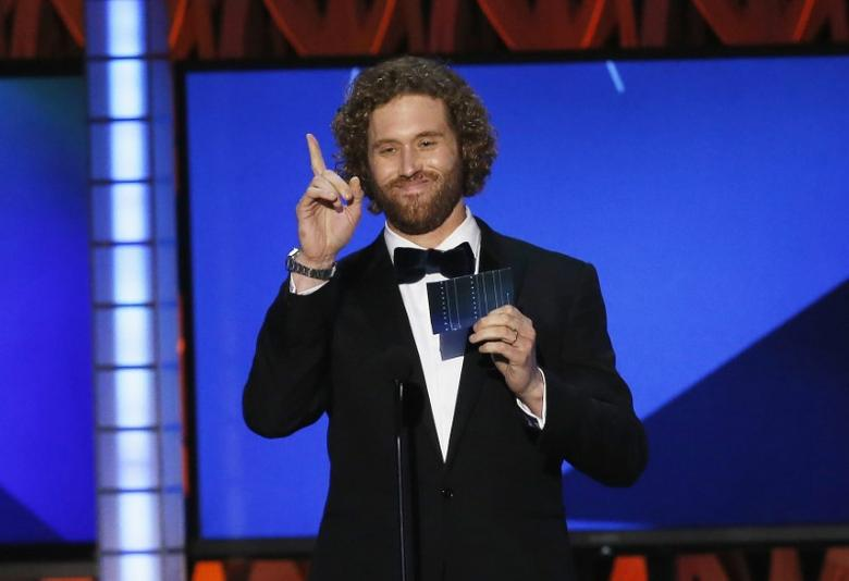 Host T.J. Miller makes a joke during at the 21st Annual Critics' Choice Awards in Santa Monica, California January 17, 2016.  REUTERS/Mario Anzuoni