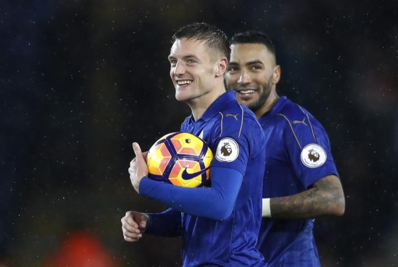 Football Soccer Britain - Leicester City v Manchester City - Premier League - King Power Stadium - 10/12/16 Leicester City's Jamie Vardy with the match ball at the end of the match after scoring a hat-trick Action Images via Reuters / Carl Recine Livepic
