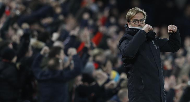 Football Soccer Britain - Liverpool v West Ham United - Premier League - Anfield - 11/12/16 Liverpool manager Juergen Klopp celebrates their second goal Reuters / Phil Noble Livepic