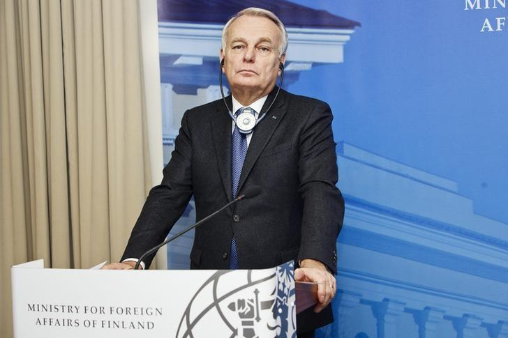 French Foreign Minister Jean-Marc Ayrault addresses a news conference in Helsinki, Finland, December 9, 2016.  Lehtikuva/Roni Rekomaa via REUTERS