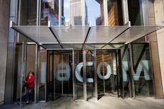 A woman exits the Viacom Inc. headquarters in New York April 30, 2013.  REUTERS/Lucas Jackson/File Photo