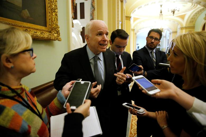 U.S. Senator John McCain (R-AZ) talks with reporters before the weekly Republican caucus policy luncheon at the U.S. Capitol in Washington, U.S. December 6, 2016.  REUTERS/Jonathan Ernst