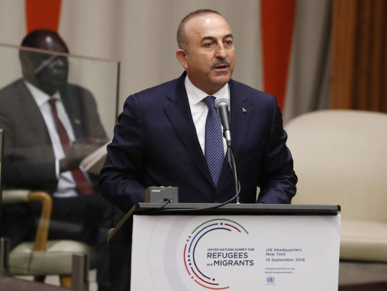 Foreign Minister Mevlut Cavusoglu of Turkey speaks during a high-level meeting on addressing large movements of refugees and migrants at the United Nations General Assembly in Manhattan, New York, U.S., September 19, 2016. REUTERS/Lucas Jackson/Files