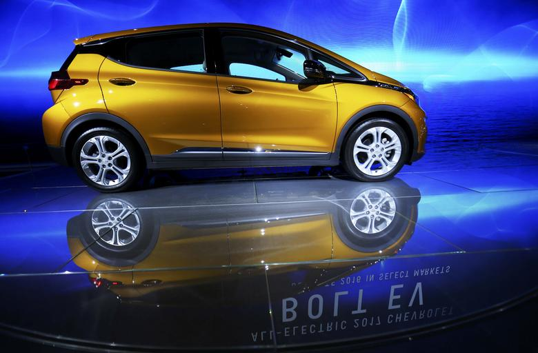 The Chevrolet Bolt EV is pictured at the 2016 Los Angeles Auto Show in Los Angeles, California, U.S November 16, 2016.   REUTERS/Mike Blake