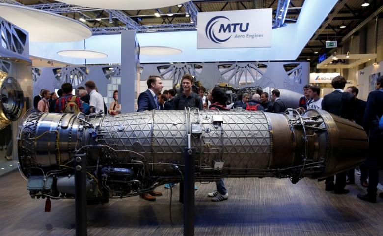 A MTU Aero Engines EJ 200 turbofan aircraft engine is pictured at the ILA Berlin Air Show in Schoenefeld, south of Berlin, Germany, June 1, 2016.    REUTERS/Fabrizio Bensch