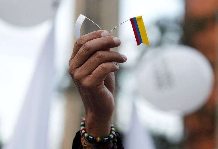 A supporter rallying for the nation's new peace agreement with FARC holds a tiny flag during a march in Bogota, Colombia, November 15, 2016. REUTERS/John Vizcaino/File Photo