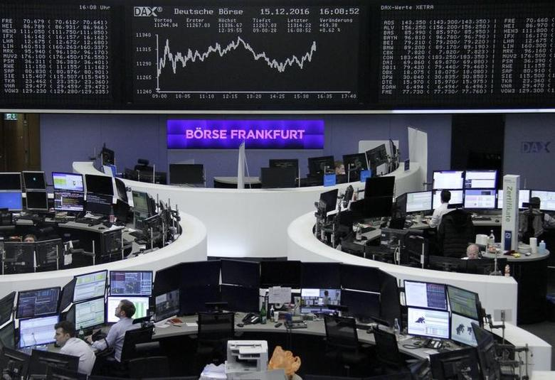 Traders work at their desks in front of the German share price index, DAX board, at the stock exchange in Frankfurt, Germany, December 15, 2016.      REUTERS/Staff/Remote