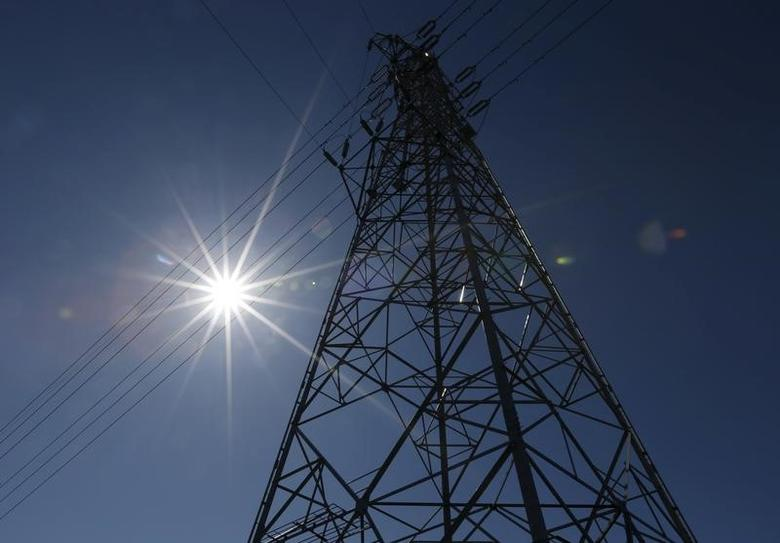 A power transmission tower is seen over a solar power facility in Nakai town, Kanagawa prefecture, Japan, March 1, 2016. REUTERS/Issei Kato