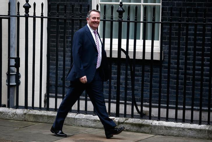 Britain's Secretary of State for International Trade Liam Fox arrives in Downing Street for a cabinet meeting, in London, November 15, 2016. REUTERS/Peter Nicholls