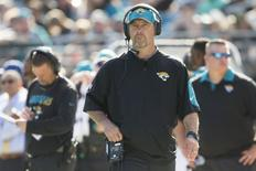 Dec 13, 2015; Jacksonville, FL, USA; Jacksonville Jaguars head coach Gus Bradley looks on during the second quarter against the Indianapolis Colts at EverBank Field. The Jacksonville Jaguars won 51-16. Mandatory Credit: Logan Bowles-USA TODAY Sports