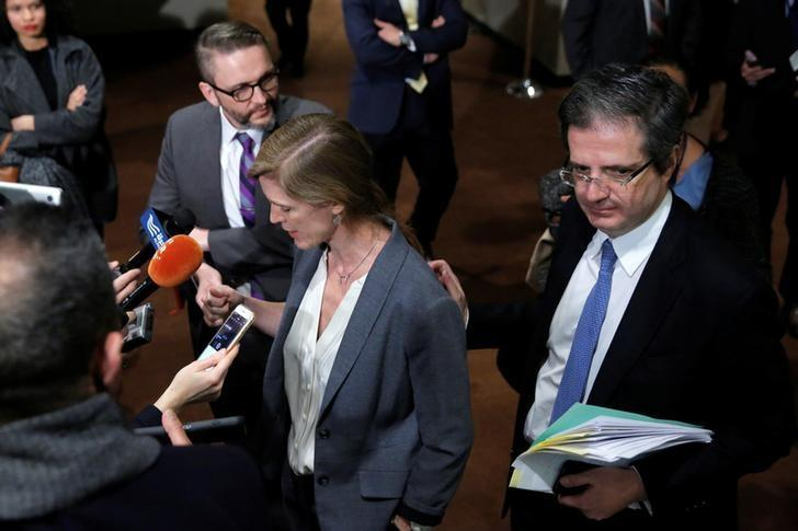 United States Ambassador to the United Nations Samantha Power and Permanent Representative of France to the United Nations Francois Delattre address gathered media following the postponement of an United Nations Security Council vote, aimed at ensuring that U.N. officials can monitor evacuations from besieged parts of the Syrian city of Aleppo, at the United Nations in Manhattan, New York City, U.S., December 18, 2016. REUTERS/Andrew Kelly