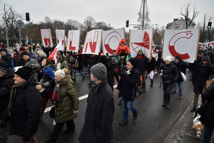 People hold signs of letters composing the word 'Freedom' as they march in an anti-government protest in Warsaw, Poland December 18, 2016. Agencja Gazeta/Franek Mazur/via REUTERS