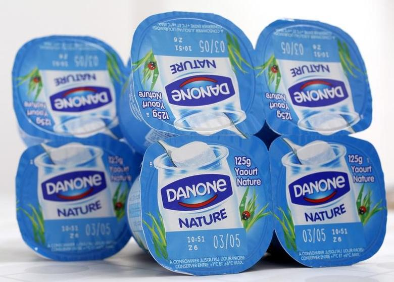 Yoghurt by French foods group Danone are seen in this photo illustration shot in Strasbourg, April 15, 2015.   REUTERS/Vincent Kessler/File Photo