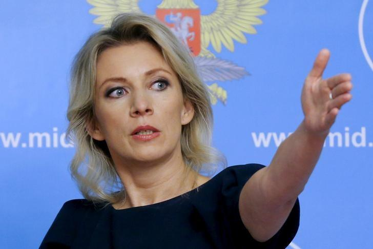 Spokeswoman of the Russian Foreign Ministry Maria Zakharova gestures as she attends a news briefing in Moscow, Russia, October 6, 2015. REUTERS/Maxim Shemetov/Files