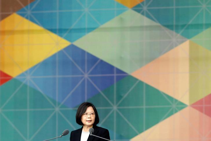 President Tsai Ing-wen gives a speech during Taiwan's National Day in Taipei, Taiwan, October 10, 2016. REUTERS/Tyrone Siu/Files