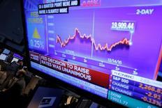 Трейдеры на Уолл-стрит. Акции финансового сектора толкнули индекс Dow до рекордного максимума - всего 20 пунктов отделяют индекс от беспрецедентного значения в 20.000 пунктов.  REUTERS/Lucas Jackson