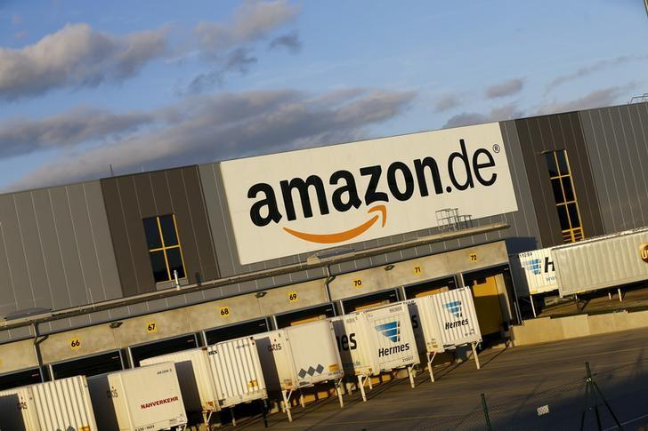 The logo of the German department of Amazon is pictured outside the Amazon logistics center in Koblenz, western Germany December 23, 2015.   REUTERS/Wolfgang Rattay