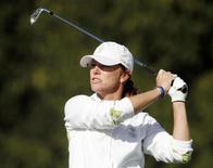Team Europe's Helen Alfredsson of Sweden watches her tee shot on the third hole during their fourballs match on the second day of the 2009 Solheim Cup golf tournament at Rich Harvest Farm in Sugar Grove, Illinois August 22, 2009     REUTERS/John Gress
