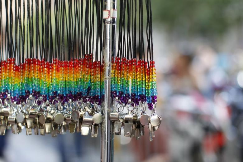 Rainbow whistles are shown hanging at the San Francisco Gay Pride Parade in San Francisco, California June 30, 2013. REUTERS/Jed Jacobsohn