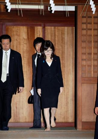Japan's Defense Minister Tomomi Inada visits the Yasukuni Shrine in Tokyo, Japan, in this photo taken by Kyodo December 29, 2016. Mandatory credit Kyodo/via REUTERS