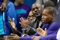 Dec 23, 2016; Charlotte, NC, USA; Charlotte Hornets owner Michael Jordan yells at an official in the second half against the Chicago Bulls at Spectrum Center. The Hornets defeated the Bulls 103-91. Mandatory Credit: Jeremy Brevard-USA TODAY Sports