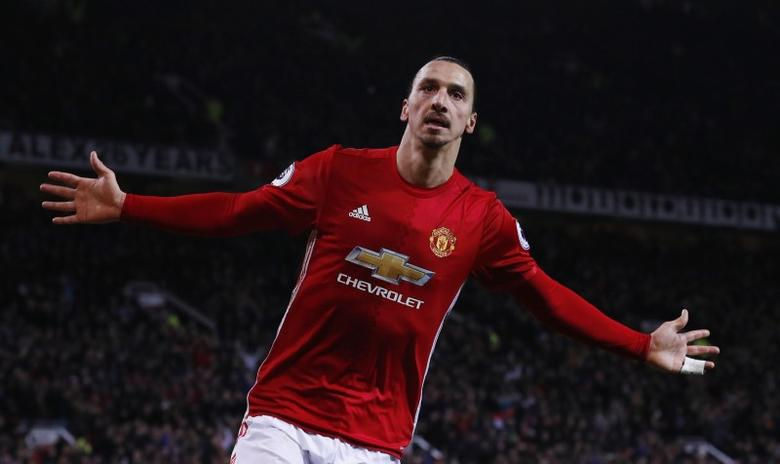 Manchester United's Zlatan Ibrahimovic celebrates scoring their second goal  Reuters / Phil Noble