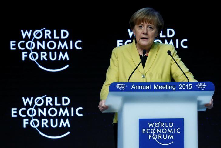 German Chancellor Angela Merkel makes a speech during the session ''Global Responsibilities in a Digital Age'' in the Swiss mountain resort of Davos January 22, 2015. REUTERS/Ruben Sprich/File Photo