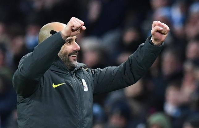 Britain Football Soccer - Manchester City v Burnley - Premier League - Etihad Stadium - 2/1/17 Manchester City manager Pep Guardiola celebrates after the game  Reuters / Anthony Devlin Livepic
