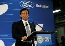 Ford Motor Co. president and CEO Mark Fields makes a major announcement during a news conference at the Flat Rock Assembly Plant in Flat Rock, Michigan, U.S. January 3, 2017. REUTERS/Rebecca Cook