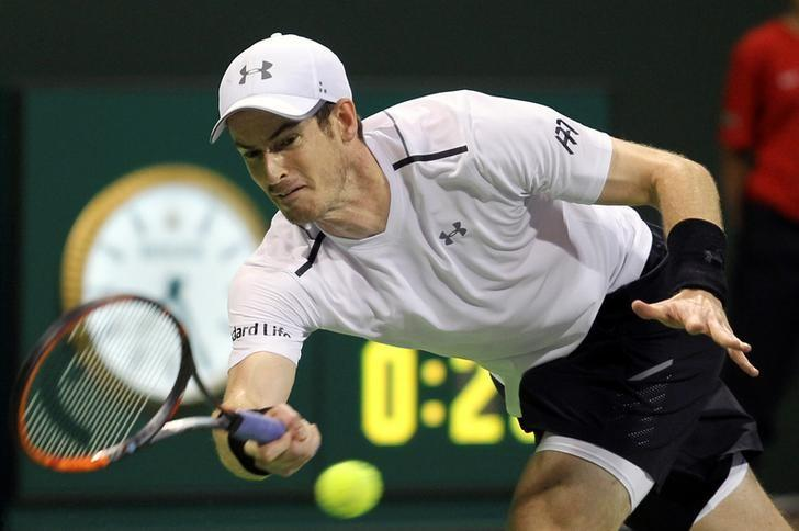 Tennis - Qatar Open - Men's Singles - Jeremy Chardy of France v Andy Murray of Britain - Doha, Qatar - 3/1/2017 - Andy Murray in action. REUTERS/Naseem Zeitoon