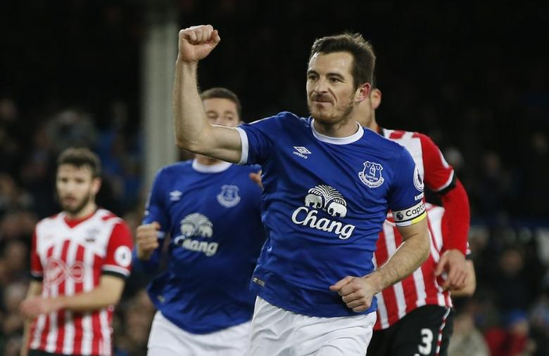 Britain Football Soccer - Everton v Southampton - Premier League - Goodison Park - 2/1/17 Everton's Leighton Baines celebrates scoring their second goal Reuters / Andrew Yates Livepic