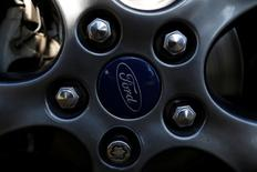 The Ford logo is seen in a rim of car in Cuautitlan Izcalli, Mexico January 4, 2017. REUTERS/Carlos Jasso
