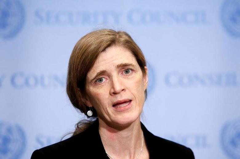 United States Ambassador to the United Nations Samantha Power addresses media following a United Nations Security Council vote, aimed at ensuring that U.N. officials can monitor evacuations from besieged parts of the Syrian city of Aleppo, at the United Nations in Manhattan, New York City, U.S., December 19, 2016. REUTERS/Andrew Kelly