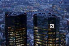 FILE PHOTO:  The headquarters of Germany's Deutsche Bank is seen in Frankfurt, Germany, January 26, 2016.   REUTERS/Kai Pfaffenbach/File Photo