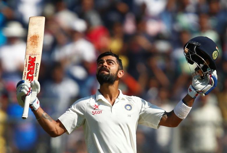 India's Virat Kohli celebrates his double century. REUTERS/Danish Siddiqui