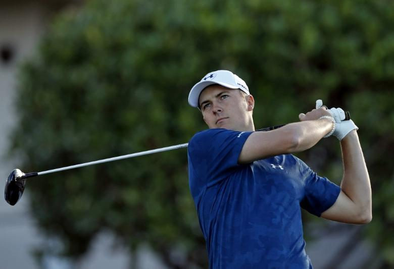 Jan 8, 2017; Maui, HI, USA; PGA golfer Jordan Spieth tees off on the first hole during the final round of the Tournament of Champions golf tournament at Kapalua Resort - The Plantation Course. Brian Spurlock-USA TODAY Sports