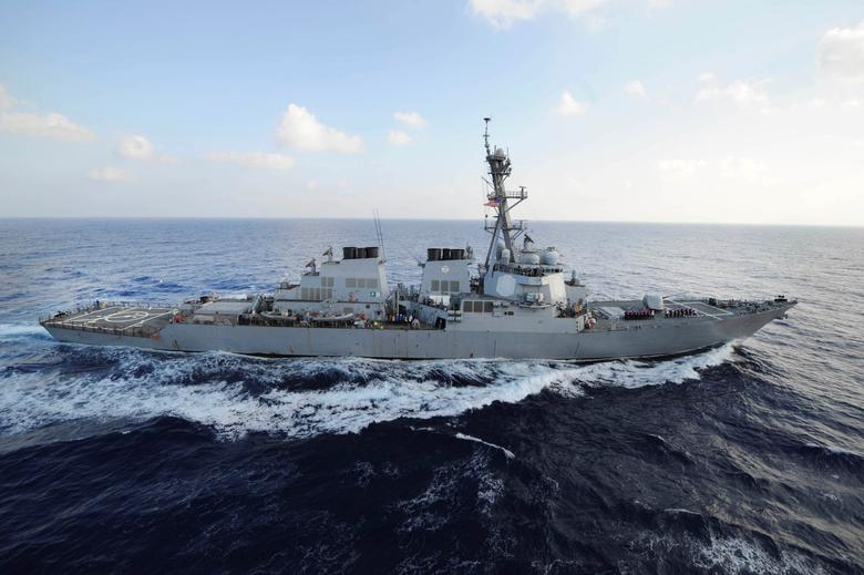 File Photo: The guided-missile destroyer USS Mahan (DDG 72) transits the Mediterranean Sea in this August 31, 2012 handout photo.  REUTERS/Mass Communication Specialist 2nd Class Jacob D. Moore/U.S. Navy/Handout via Reuters/File Photo